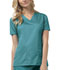 Photograph of Luxe Women's V-Neck Top Green 1845-TEAV