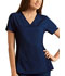 Photograph of Cherokee Flexibles Women\'s V-Neck Knit Panel Top Blue 2874-NVYB