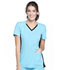 Photograph of iFlex Women's V-Neck Knit Panel Top Blue CK605-TUBK