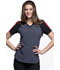 Photograph of Infinity Women's Colorblock V-Neck Top Gray CK690A-PWPS
