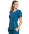 Photograph of Statement Women's V-Neck Zip Front Top Blue CK795-CAR