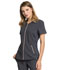 Photograph of Statement Women's V-Neck Zip Front Top Gray CK795-PWT