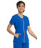 Photograph of Statement Women's V-Neck Zip Front Top Blue CK795-ROY