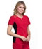 Photograph of iFlex Women V-Neck Button Placket Top Red CK800-RED