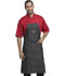 Photograph of Dickies Chef Bib Apron with Red Straps in Black Denim
