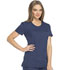 Photograph of Dickies Dynamix Women's Rounded V-Neck Top Blue DK720-NAV