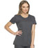 Photograph of Dynamix Women's Rounded V-Neck Top Gray DK720-PWT