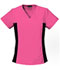 Photograph of Flexibles Women V-Neck Knit Panel Top Pink 2874-SHPB