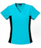 Photograph of Flexibles Women V-Neck Knit Panel Top Blue 2874-TRQB