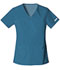 Photograph of Flexibles Women V-Neck Knit Panel Top Blue 2968-CABB