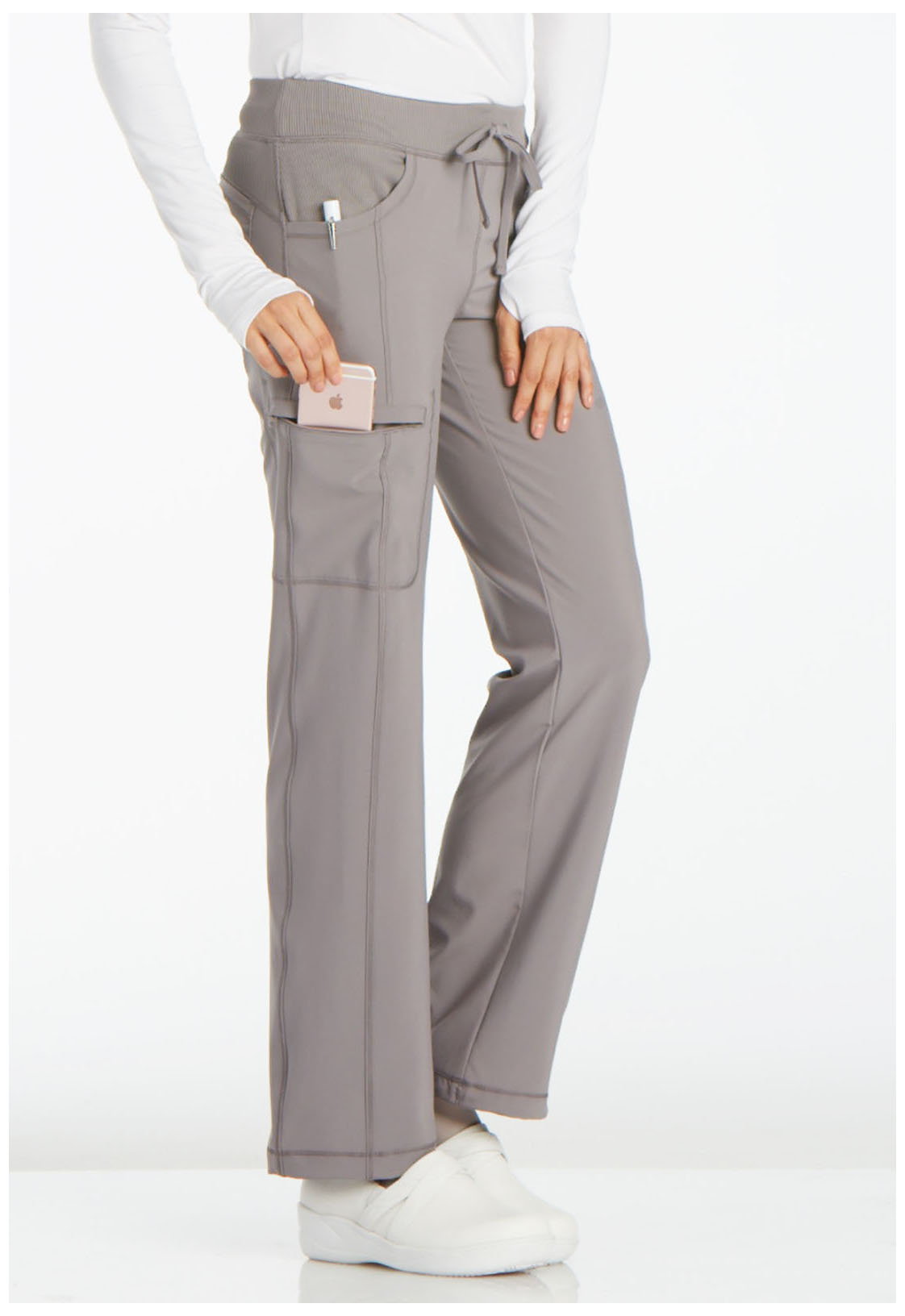 bf084cb4817 Infinity by Cherokee Women's Low Rise Straight Leg Drawstring Pant Gray
