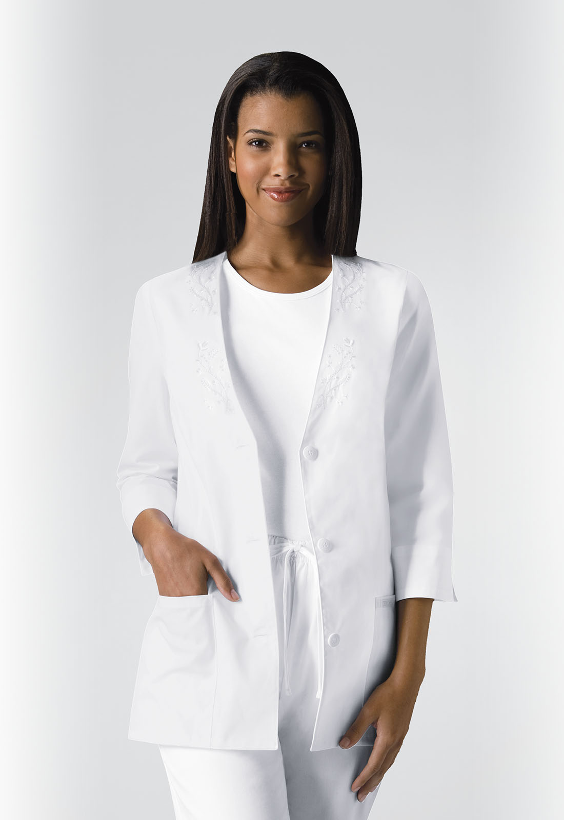 0e8a314e732aa Professional Whites 3/4 Sleeve Embroidered Jacket in White 1491-WHTD ...