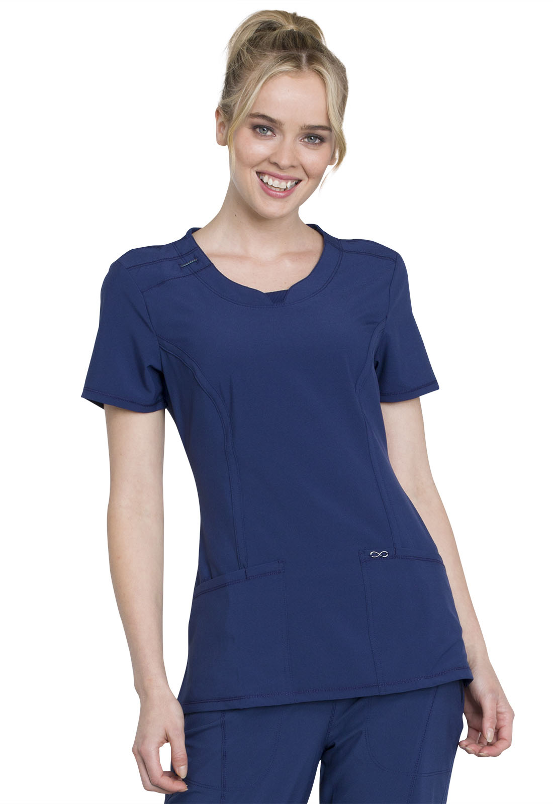 7c58f2ed9d4 Infinity Round Neck Top in Navy 2624A-NYPS from Castle Uniforms