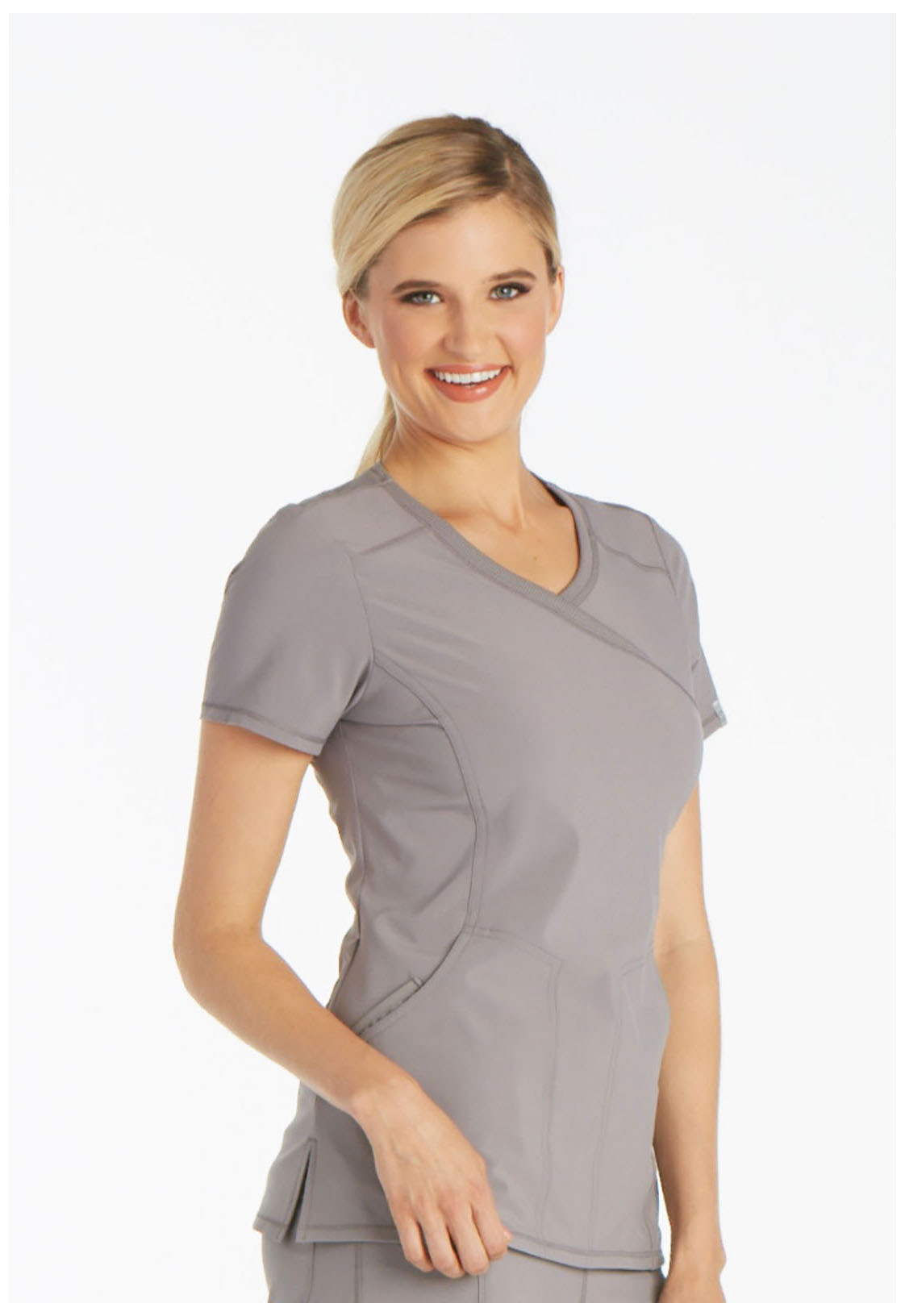 c4787a764a6 Infinity Mock Wrap Top in Stone 2625A-STPS from James Medical Uniforms