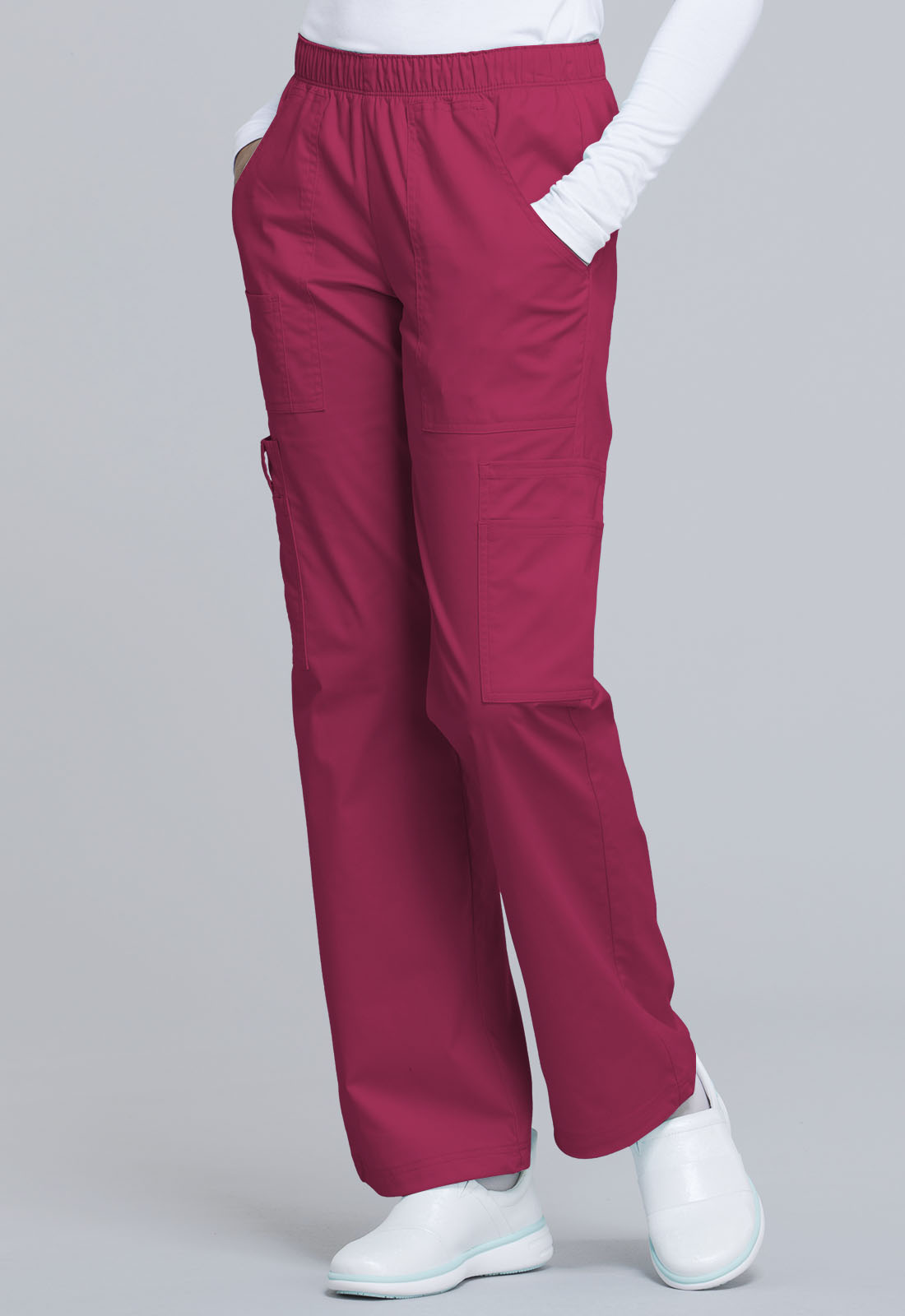 fe7d7959430 Cherokee Workwear. WW Core Stretch Mid Rise Pull-On Pant Cargo Pant in  Cerise (Petite)
