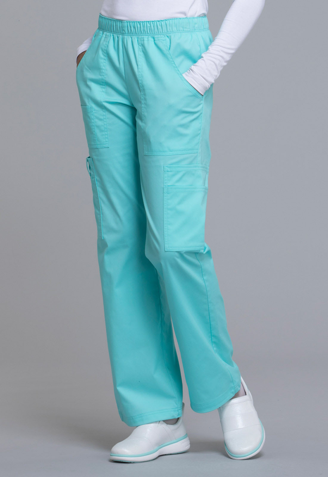 560b34b69e4 Cherokee Workwear. WW Core Stretch Mid Rise Pull-On Pant Cargo Pant in  Tahiti Sweetie (Petite)
