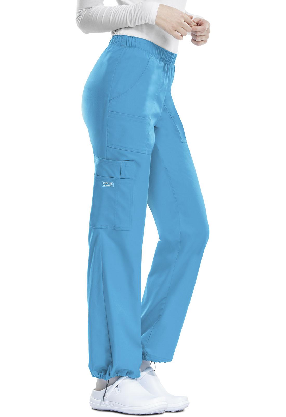 5502771b3e2 Cherokee Workwear. WW Core Stretch Mid Rise Pull-On Pant Cargo Pant in  Hawaiian Ocean