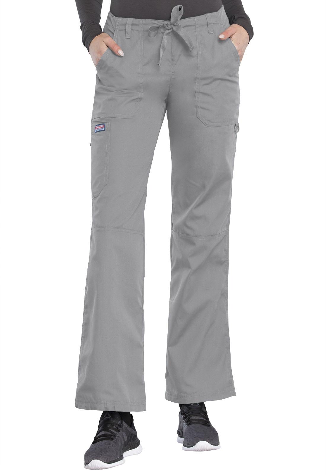 d0300d1ead8 Cherokee Workwear. WW Originals Low Rise Drawstring Cargo Pant in Grey  (Petite)