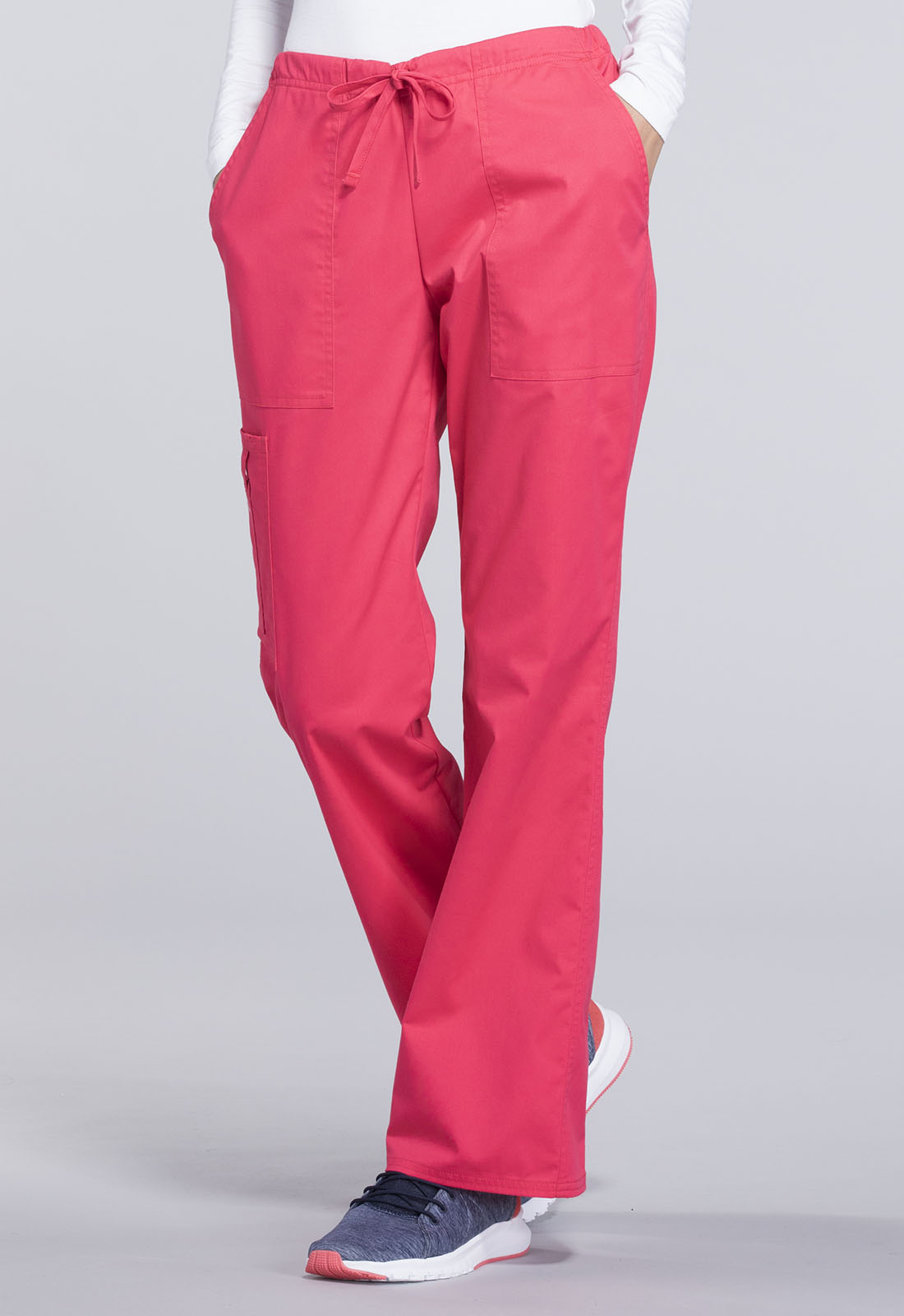 5722b59dccb Cherokee Workwear. WW Core Stretch Mid Rise Drawstring Cargo Pant in Fruit  Punch
