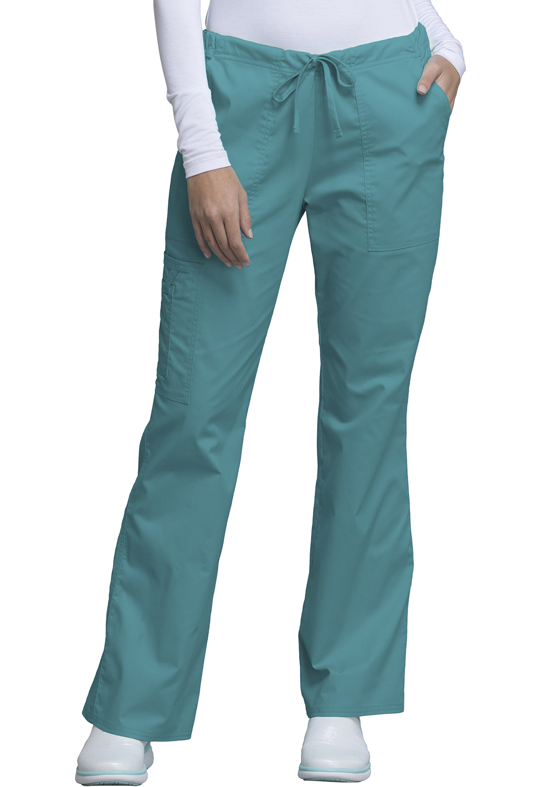 10267e3b668 Cherokee Workwear. WW Core Stretch Mid Rise Drawstring Cargo Pant in Teal  Blue