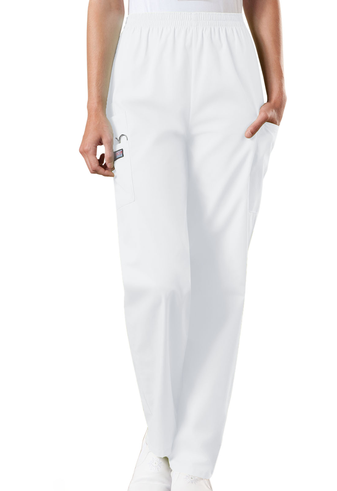 c00a767f5df Cherokee Workwear. WW Originals Natural Rise Tapered Pull-On Cargo Pant in  White (Petite)