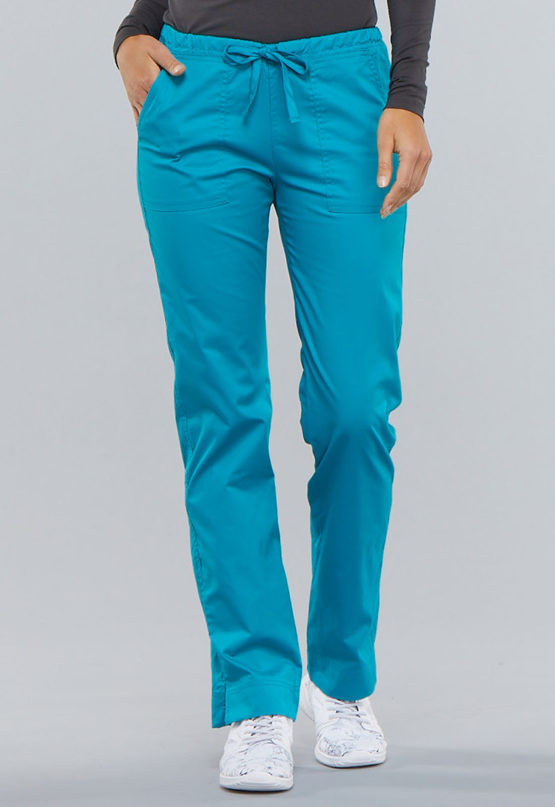 5839dc20a89 WW Core Stretch Mid Rise Straight Leg Drawstring Pant in Teal Blue (Petite)