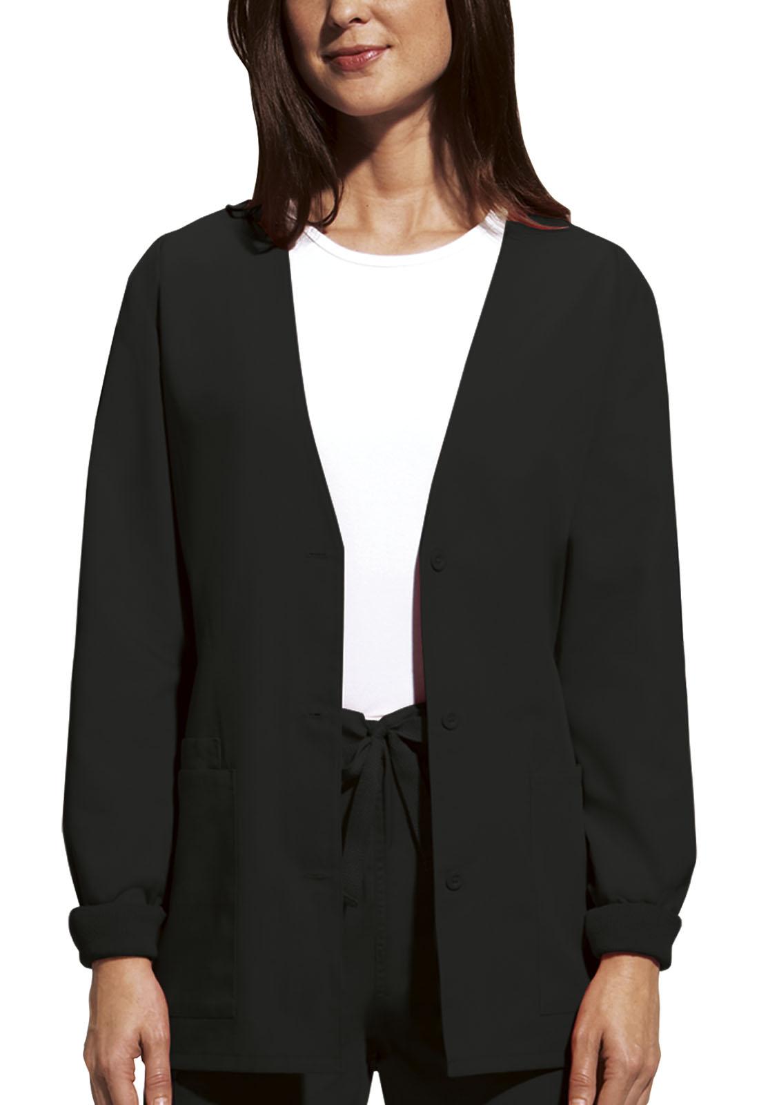 80bcc70cf0c WW Originals Cardigan Warm-Up Jacket in Black 4301-BLKW from Scrubs ...