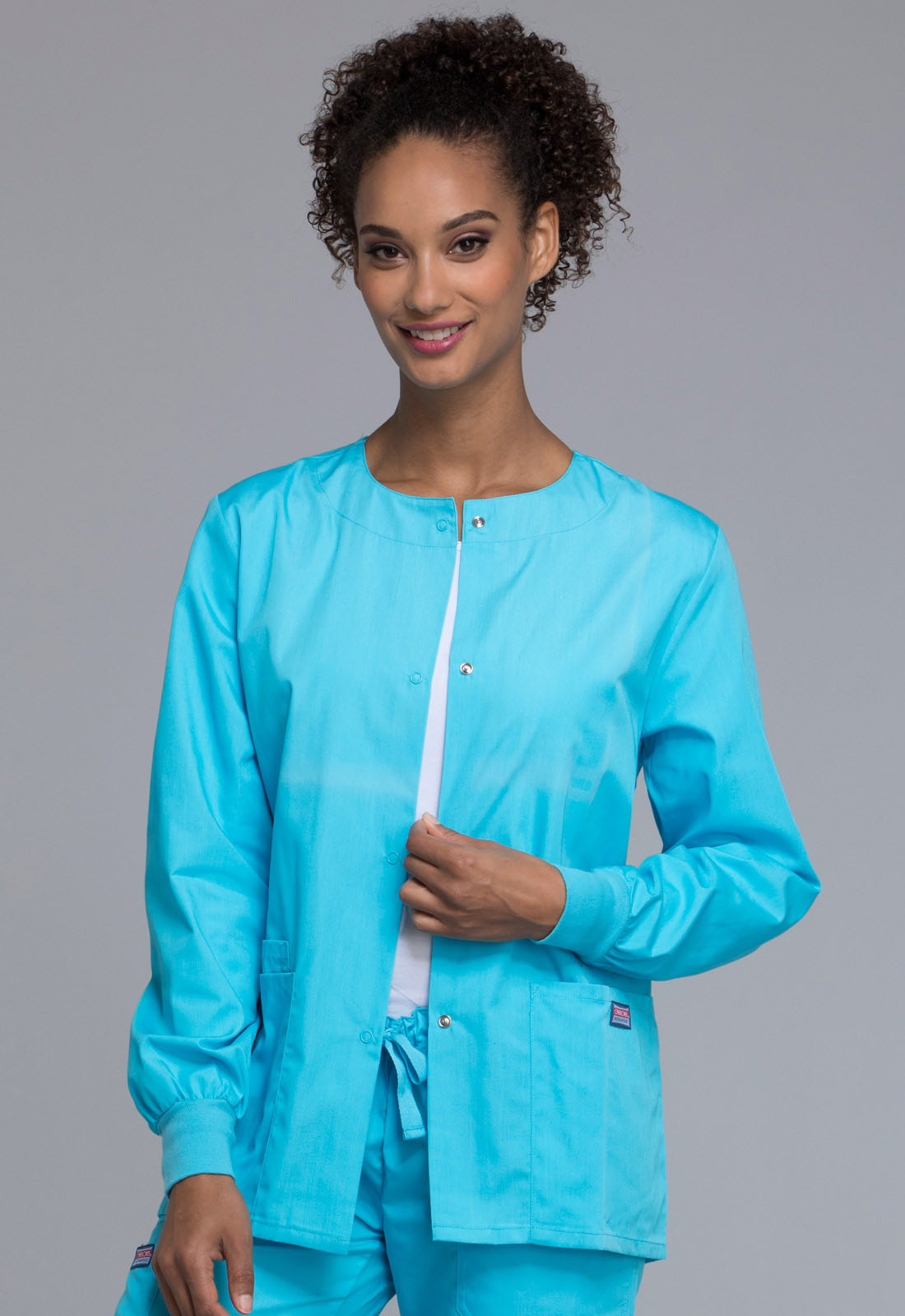 88c2b6cd8a3 WW Originals Snap Front Warm-Up Jacket in Turquoise 4350-TRQW from Grannys  Uniforms Work Fashions and More IV