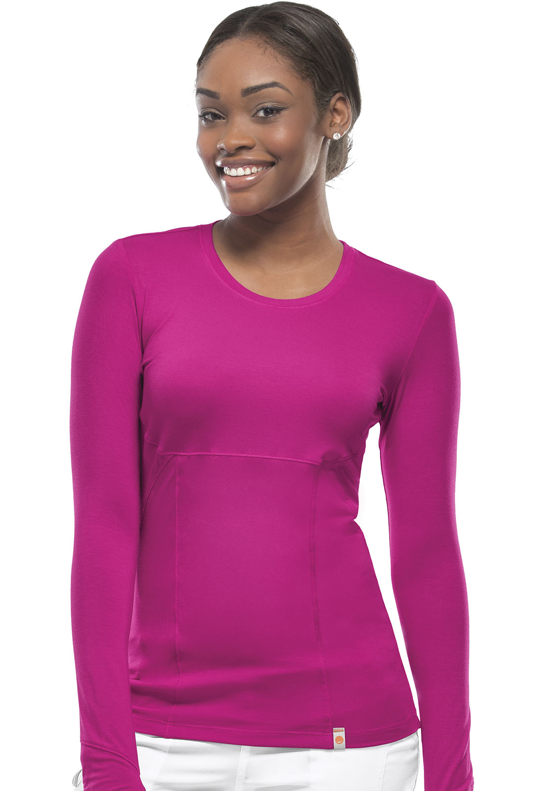 396257565d6 Bliss Long Sleeve Underscrub Knit Tee in Shocking Pink (Antimicrobial)