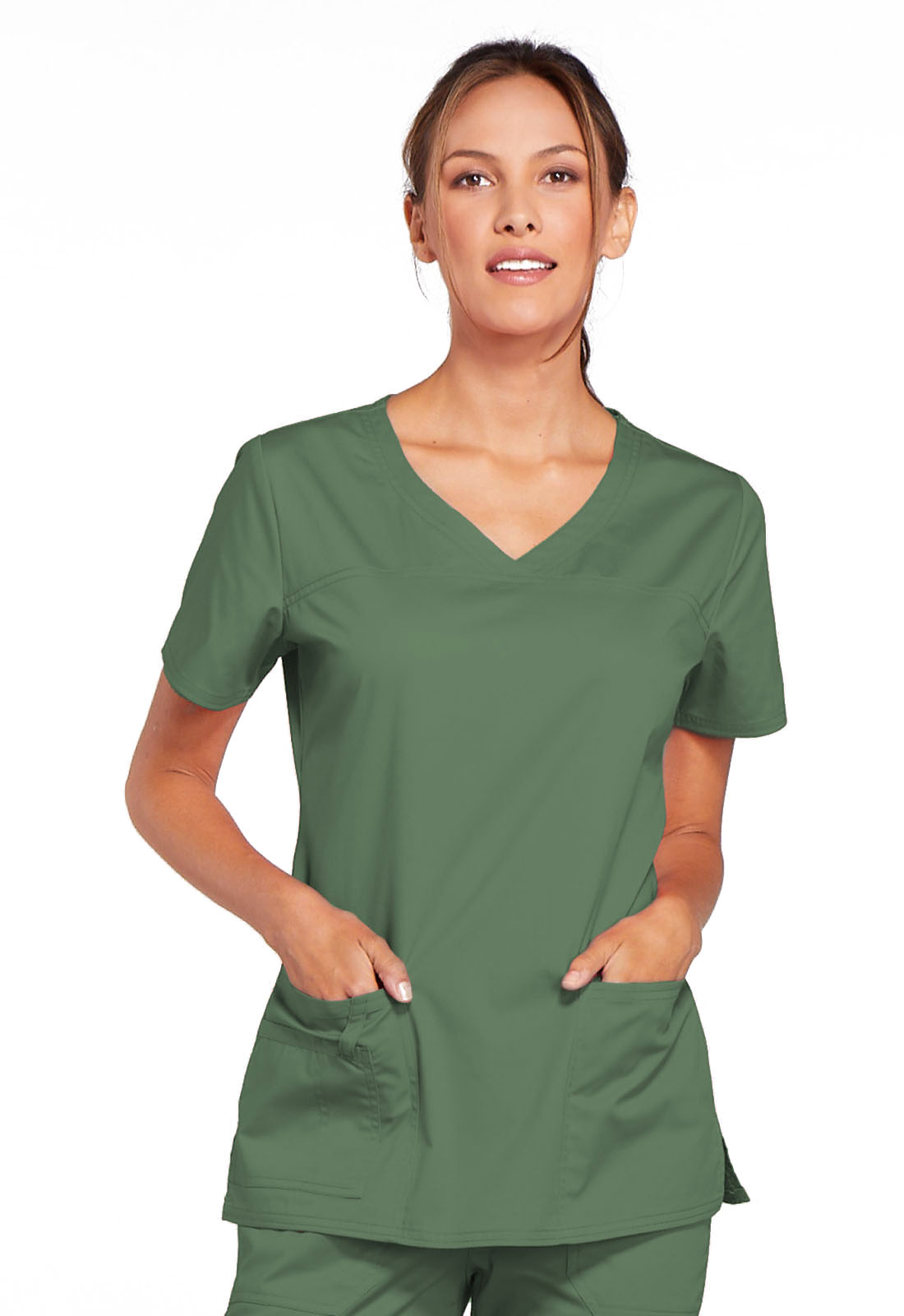 66218acfa10 WW Core Stretch V-Neck Top in Olive 4727-OLVW from Cherokee Scrubs4All