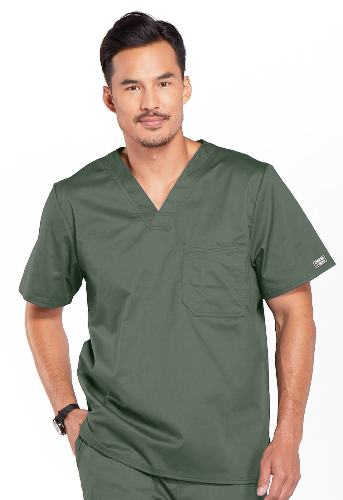ed988abfe0b WW Core Stretch Men's V-Neck Top in Olive 4743-OLVW from Scrubs Express