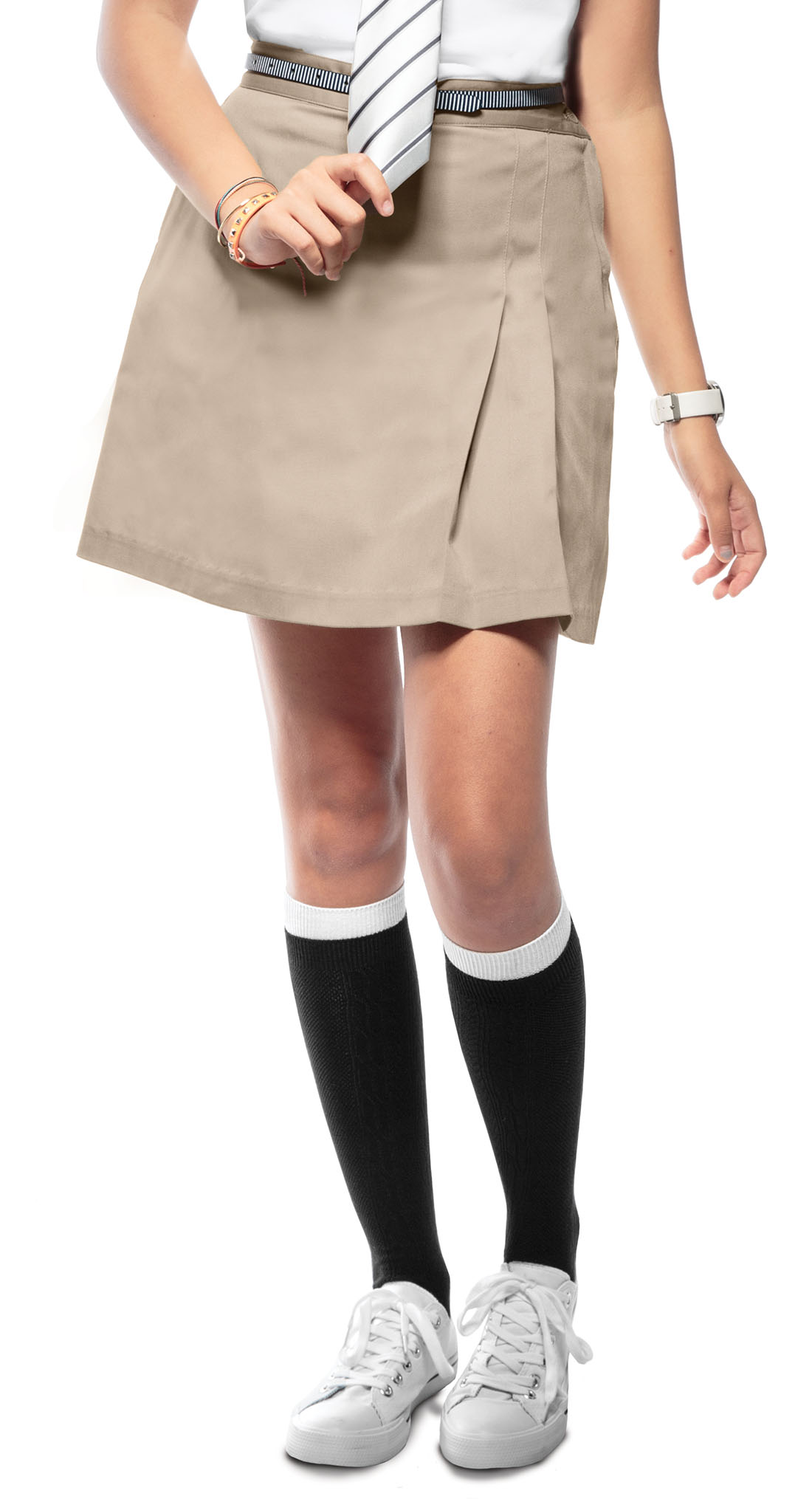 8849cf20a6 Classroom Junior Stretch Double-Pleated Scooter in Khaki 55274-KAK ...