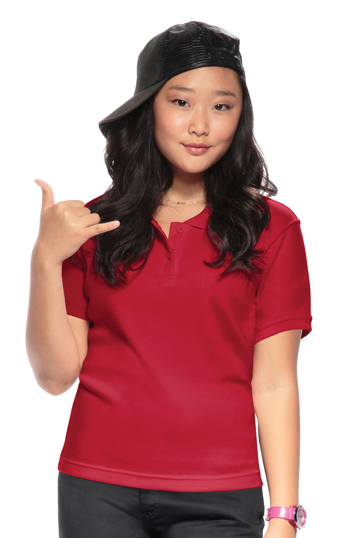 Classroom Youth Unisex Moisture Wicking Polo Shirt 58602 Red From