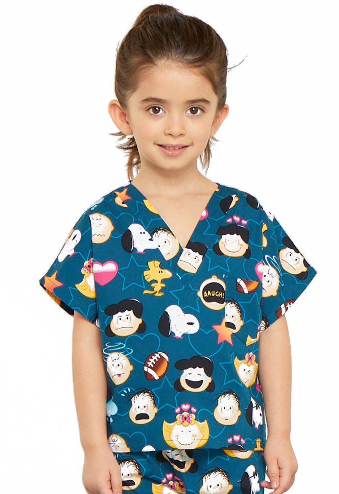 95257773bf6 Licensed Prints Child's Unisex Kids Top and Pant Scrub Set Peanuts Emoji