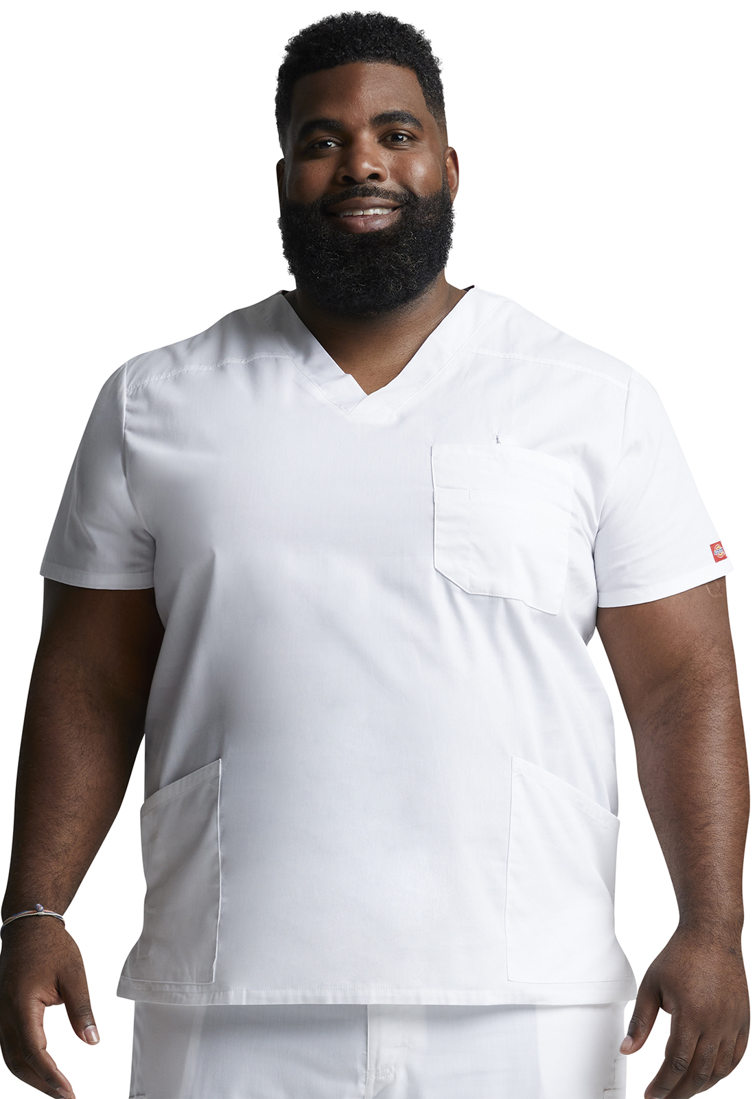 aa7d759a11064e Dickies EDS Signature Men's V-Neck Top in White from Dickies Medical