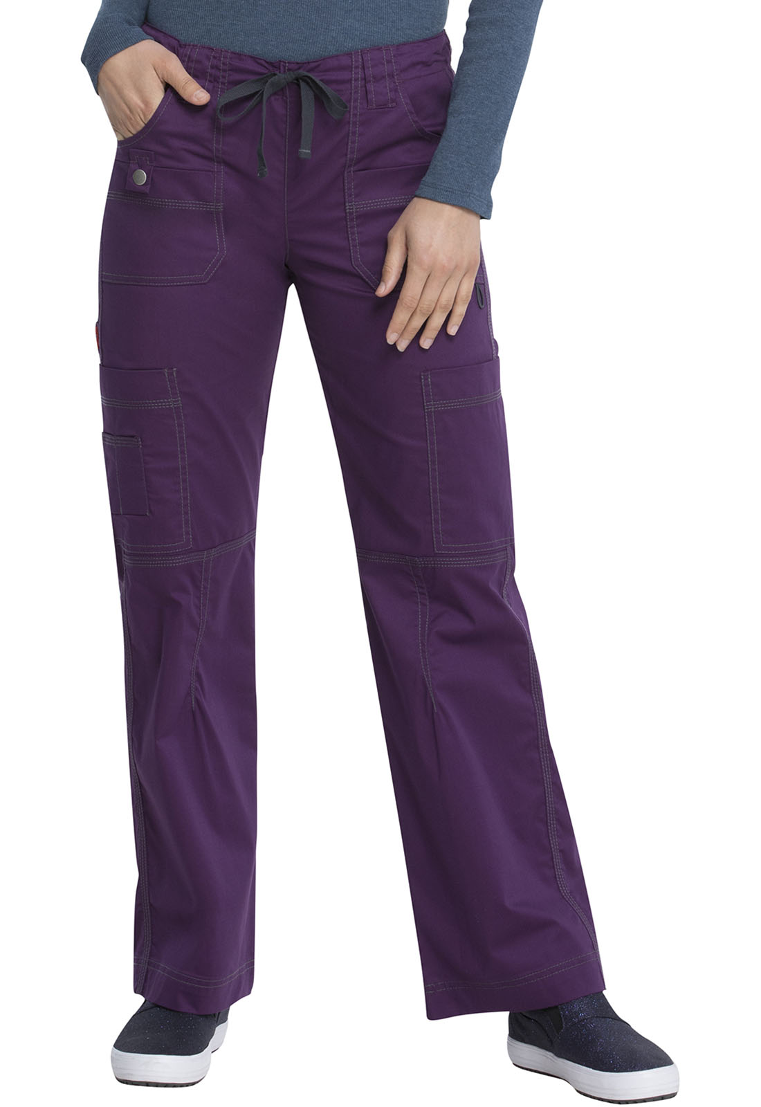 Creative  Womens Beige Slim Fitted Skinny Stretch Low Rise Cargo Pants Combat