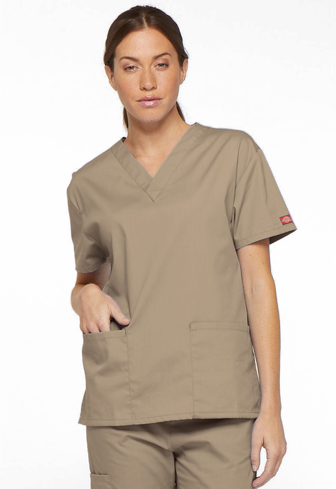 003a760ed9ee Dickies EDS Signature V-Neck Top in Dark Khaki from Dickies Medical