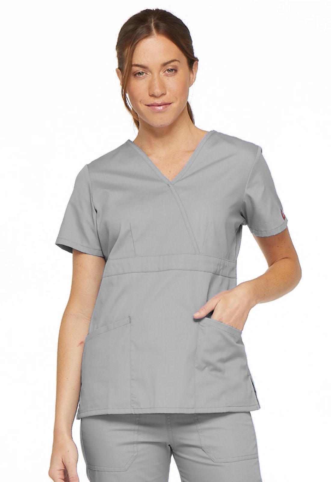 bb38807fe5224 EDS Signature Mock Wrap Top in Grey 86806-GRWZ from Scrubs Express
