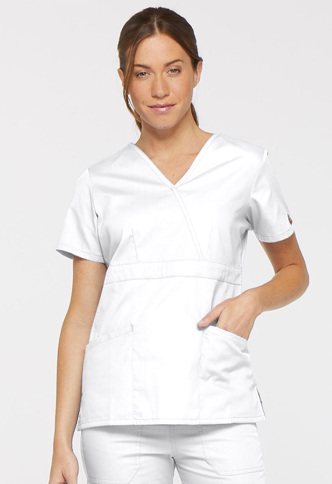 f5bfe14f8c2 Dickies EDS Signature Mock Wrap Top in White from Dickies Medical