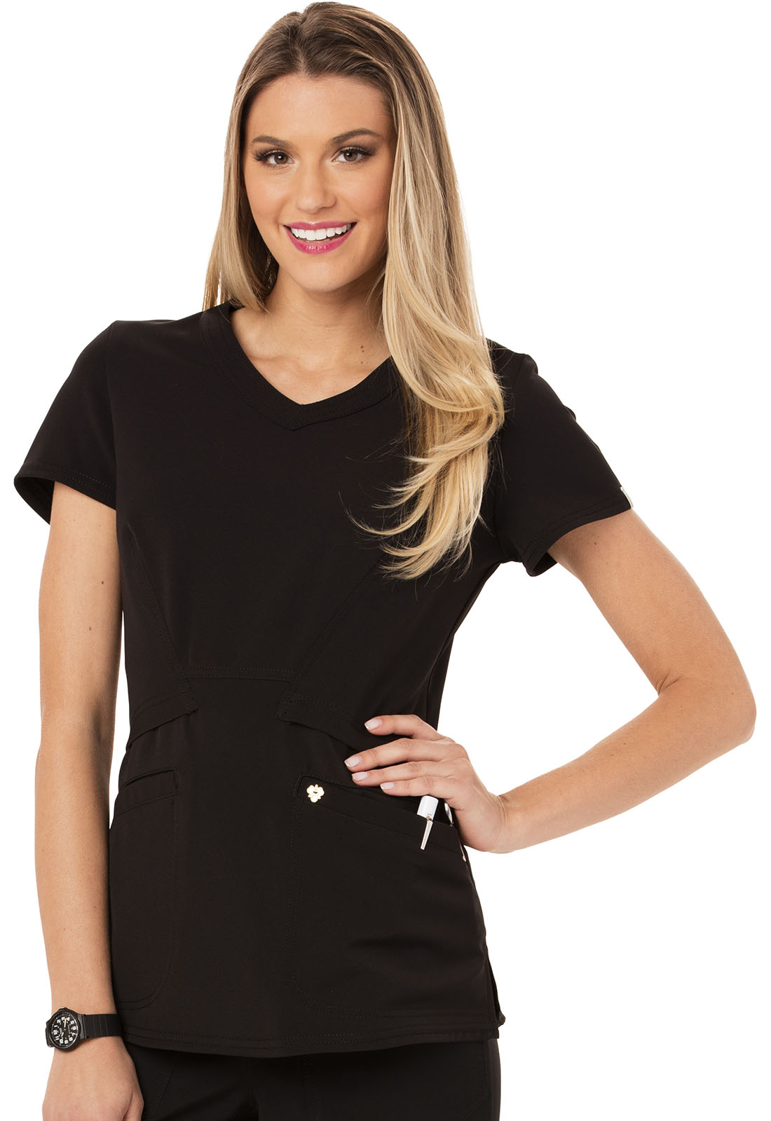1c2d1c3535b Careisma Charming V-Neck Top CA618A-BLK from Fashionable Scrubs