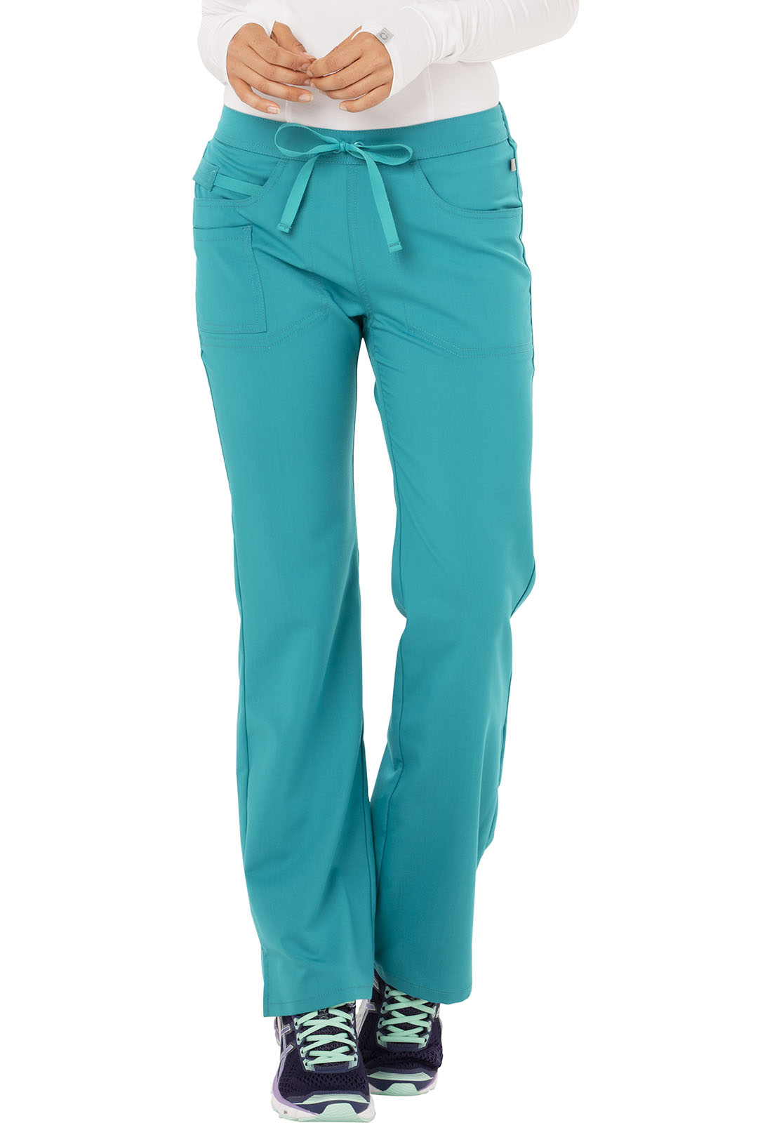 a027f8cbb18 Code Happy Cloud Nine Mid Rise Moderate Flare Leg Pant in Teal Blue ...