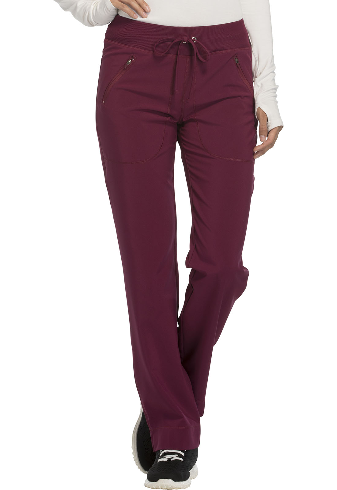 209856e8a52 Infinity Mid Rise Tapered Leg Drawstring Pants in Wine (Antimicrobial)