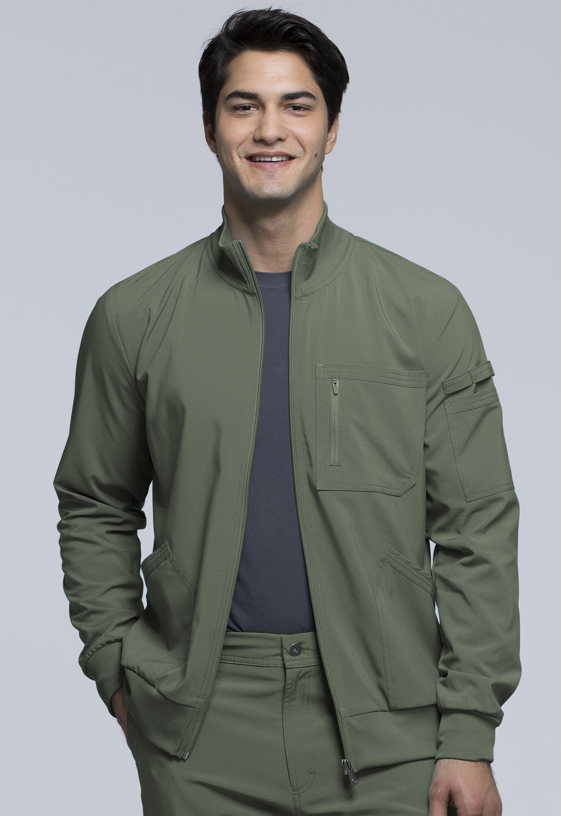 c2a7665a838 Infinity Men's Zip Front Jacket in Olive CK305A-OLPS from Scrubs Express