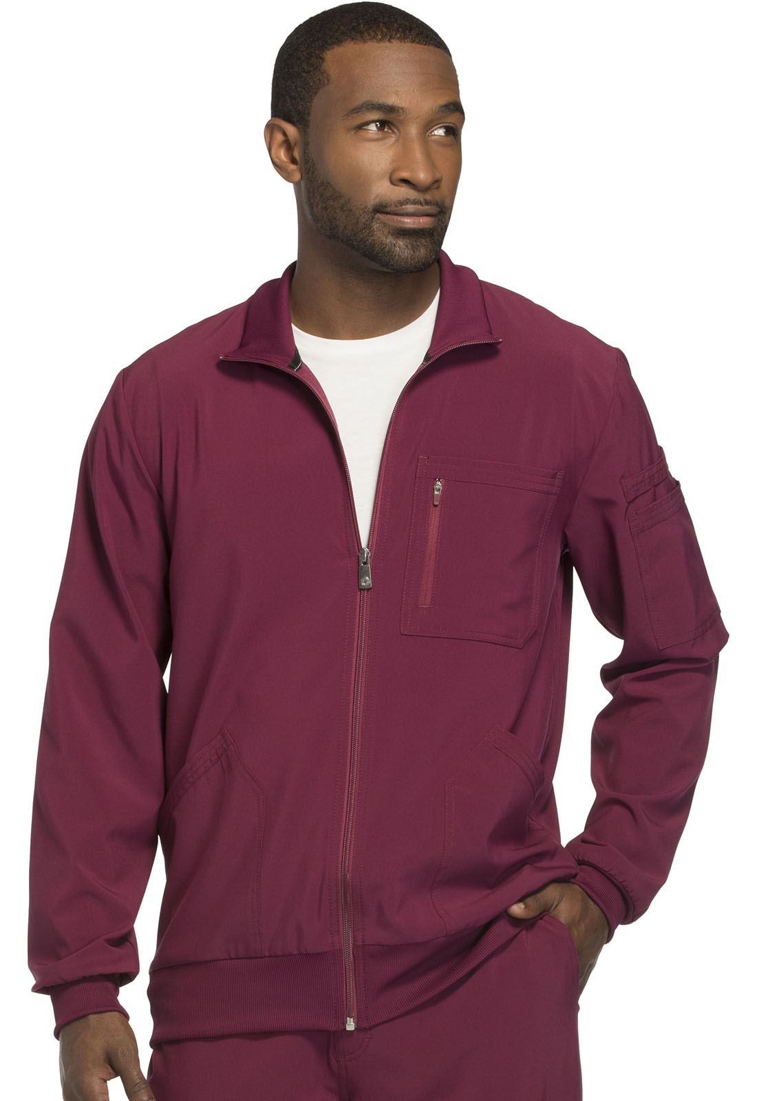 a8408926625 Infinity Men's Zip Front Jacket in Wine CK305A-WNPS from The Nurses ...