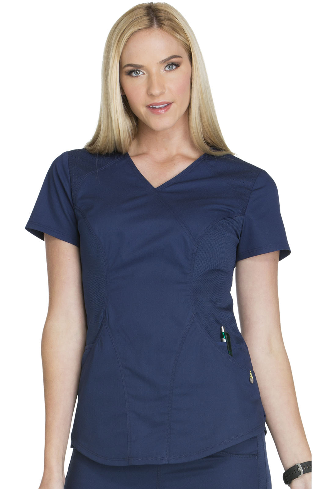 08f0dac95ed Luxe Sport Mock Wrap Top in Navy CK603-NAVV from Med Plus Uniforms ...