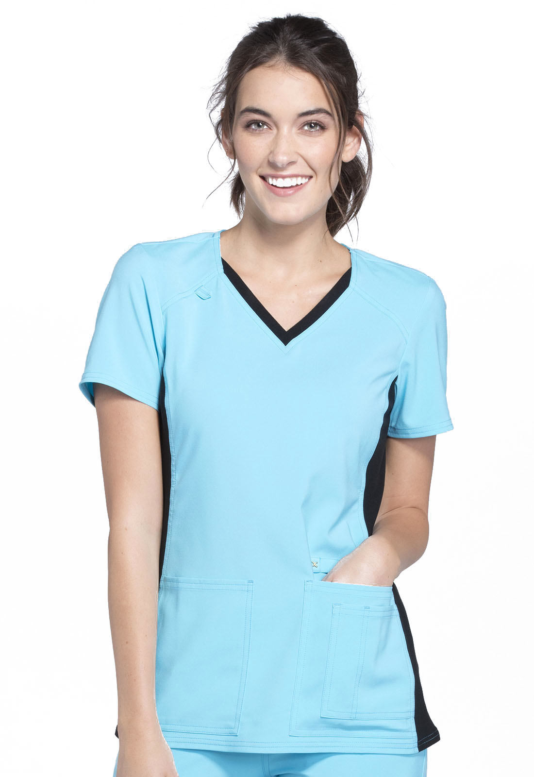 Neck Turquoise With Contrast Cherokee V From Scrubs Express Knit Black Panel TopregularIn vN0w8nm