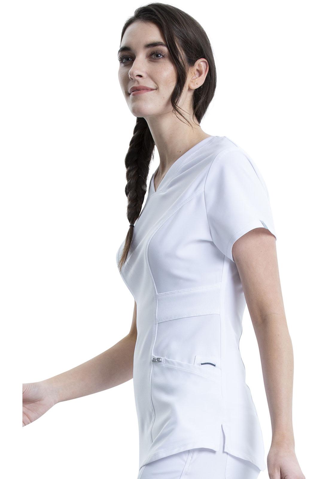 White Cherokee Scrubs Infinity V Neck Top CK623A WTPS Antimicrobial