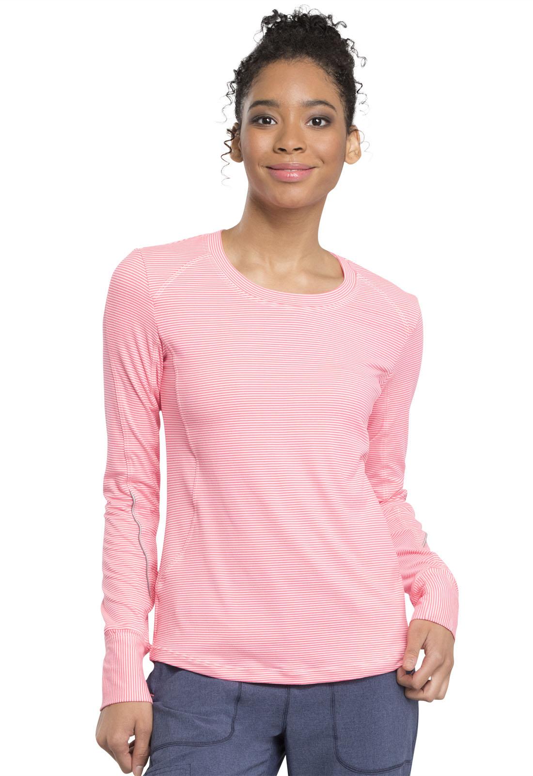 cc5bbdbe0d5 Infinity Long Sleeve Underscrub Knit Tee in Poppy Pink / White CK765 ...
