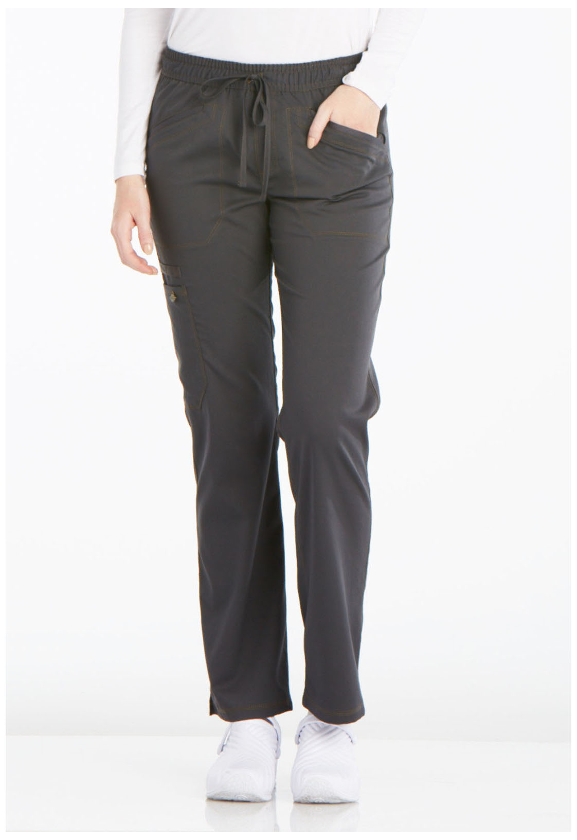 cc41ca3de93 Essence Mid Rise Straight Leg Drawstring Pant in Pewter DK106P-PWT ...