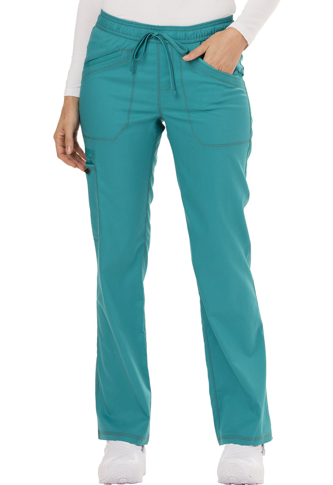 1ddc5c98a81 Essence Mid Rise Straight Leg Drawstring Pant in Teal Blue DK106P ...
